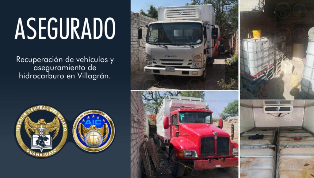 Recupera FGE unidades con reporte de robo y asegura 6 mil litros de hidrocarburo en finca de la comunidad El Chinaco en Villagrán