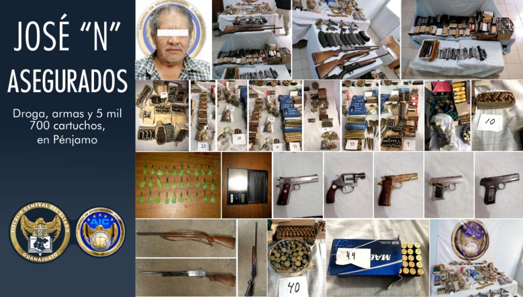 Asegura Fiscalía estatal miles de cartuchos, droga y armas en un domicilio de la zona centro de Pénjamo
